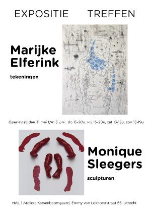 Poster van de expositie TREFFEN, Marijke Elferink tekeningen en Atelier Monique Sleegers sculpturen. De tentoonstelling wordt geopend door Berthe Schoonman galerie Sanaa, Utrecht. De expositie duurt 4 dagen, tot en met zondag.Wees Welkom.